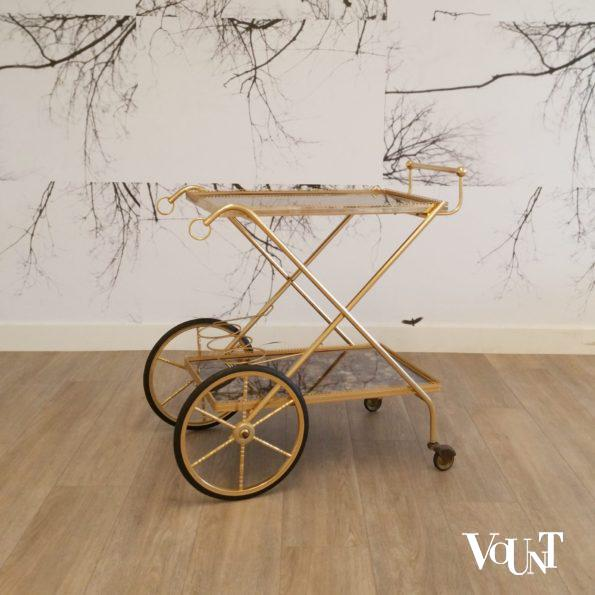 Trolley / bar cart messing en glas, jaren '60