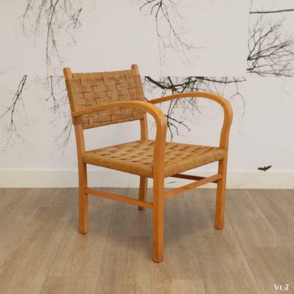 Fauteuil hout en touw, jaren '50