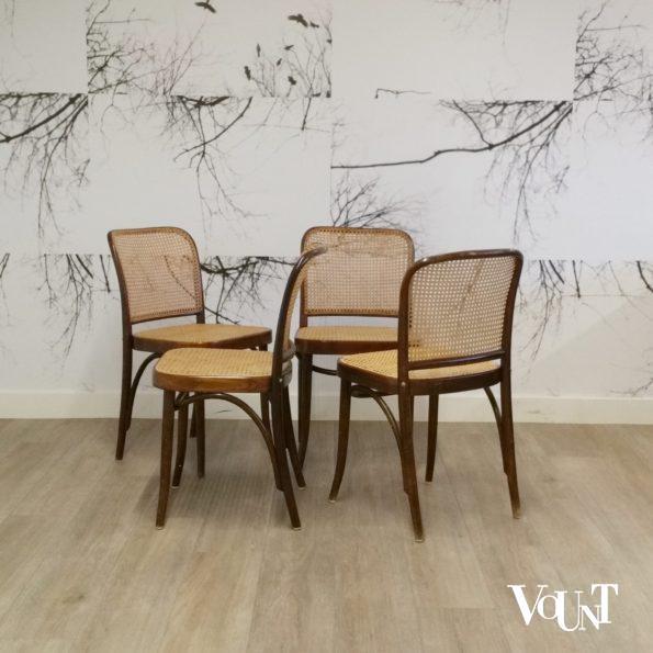 Set van 4 Praag of 811 stoelen, Josef Hoffman, Hütten, ca. 2000