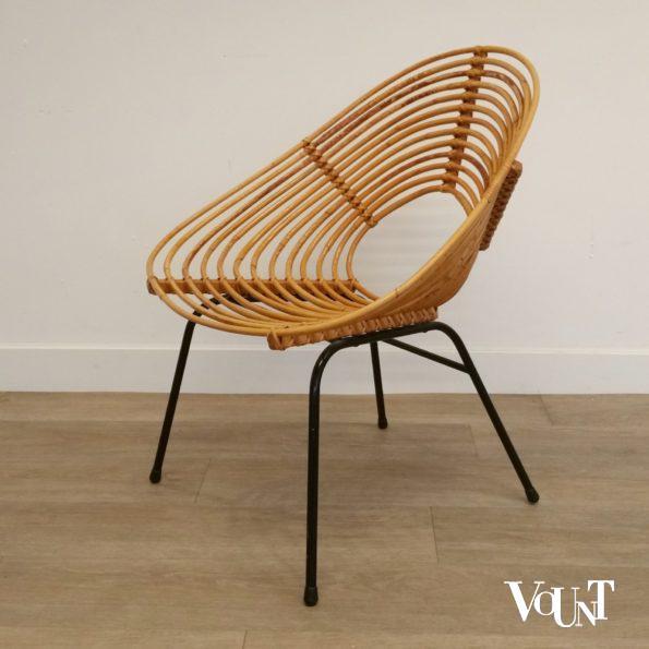 Rond rotan design stoeltje, H. Broekhuizen voor Rohé Noordwolde, jaren '60