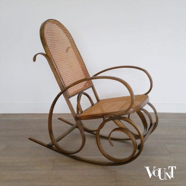 Schommelstoel hout en rotan, Valenti, jaren '60