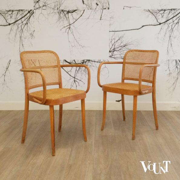 Set van 2 Praag of 811 stoelen, Josef Hoffmann voor Thonet, jaren '50