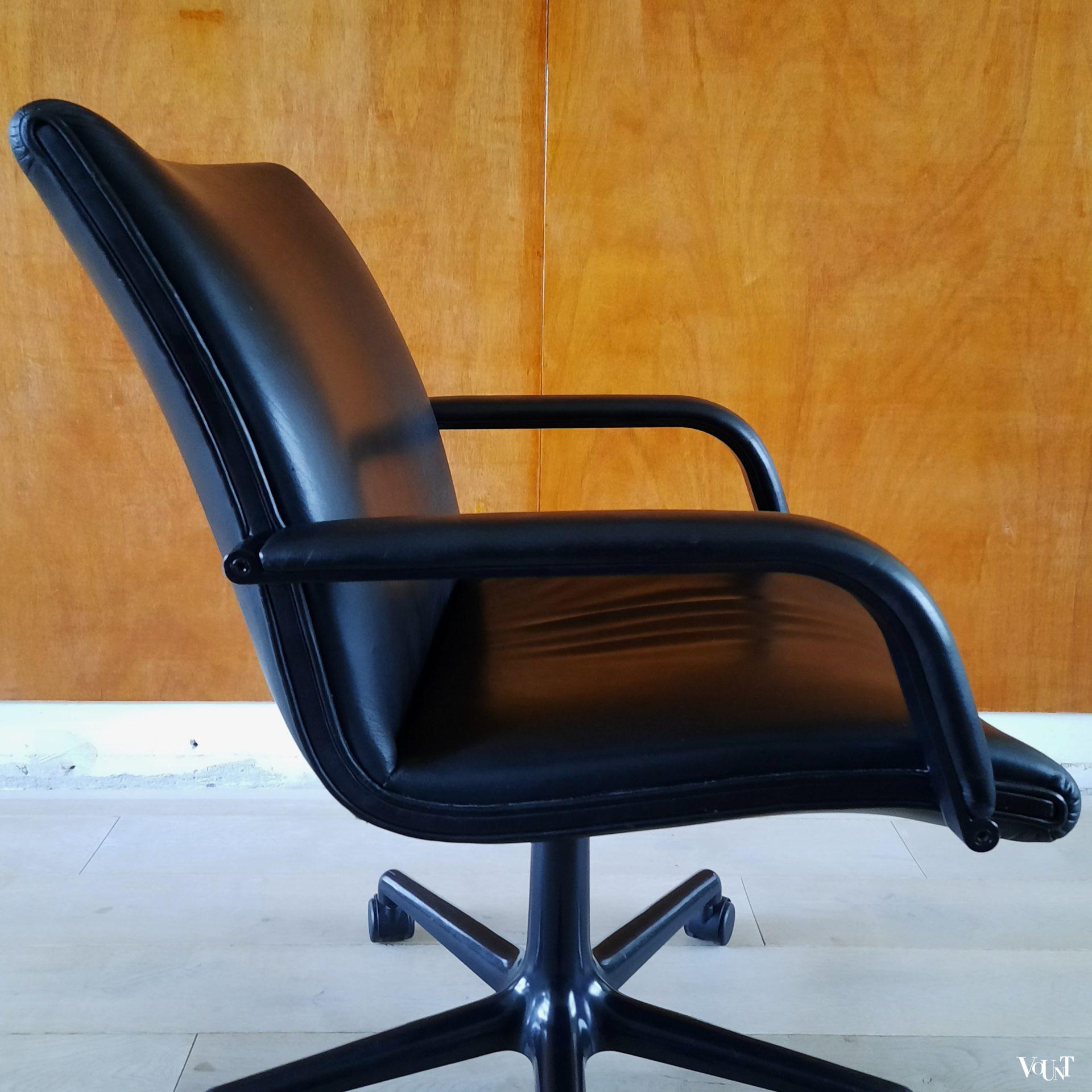 Artifort Geoffrey Harcourt Bureaustoel.Vintage Zwartleren Bureaustoel Geoffrey Harcourt Voor Artifort
