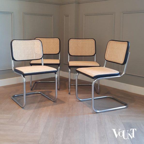 Set van 4 jaren '70 originele S32 stoelen, Marcel Breuer voor Thonet