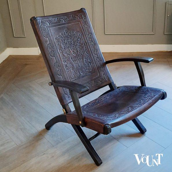 Leren opklapbare stoel, Angel Pazmino voor Muebles de Estilo, jaren '60