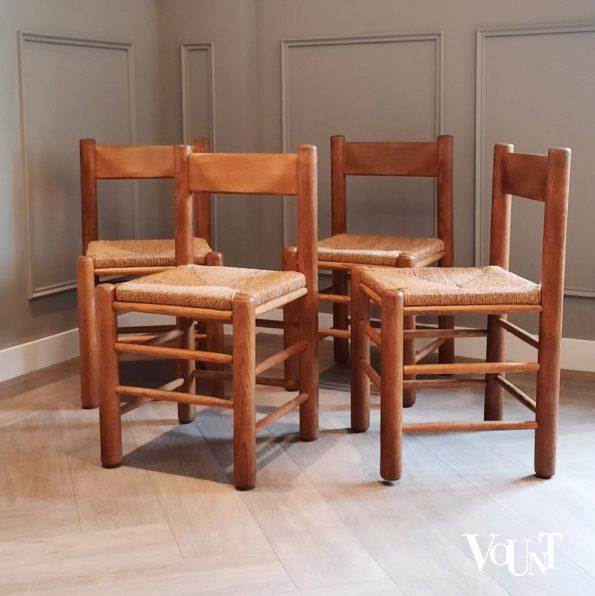 Set van 4 houten stoelen met zitting van touw, jaren '50/'60