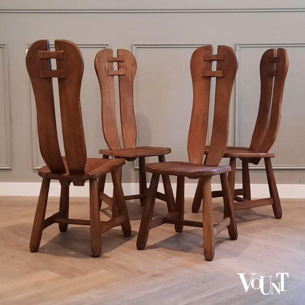 Set van 4 brutalist stoelen met hoge rugleuning, jaren '60