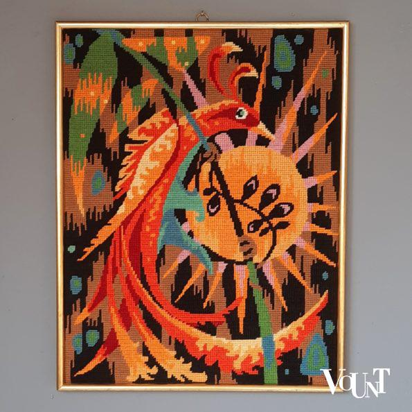 Vintage borduurwerk vuurvogel, Frankrijk